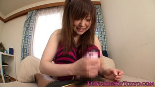 Japanese teen jerking cock before cumshot