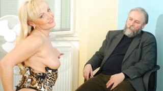 Mature older blonde anal bead play