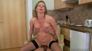 Horny blonde Laura Long enjoys in passionate sex