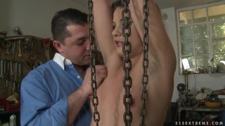 Dominant male punishing his sexual girlfriend