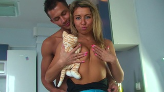 Betsy & Kiki & Sweety & Tess in hot college sex scene with two guys and a chick