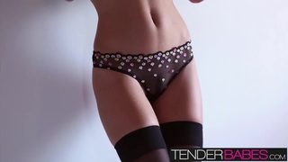 Enjoy this hot solo scene with Amber Sym in sexy lingerie