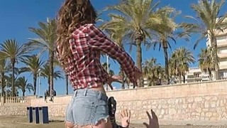 Pounding and banging sexy piece of ass Julia Roco at the beach