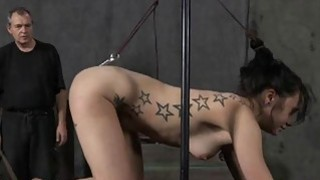 Gagged hotty acquires violent whipping on her tits