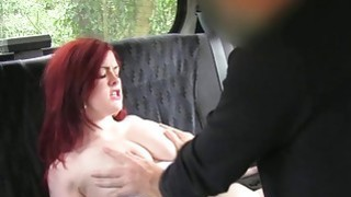 Busty British redhead in fake taxi banging