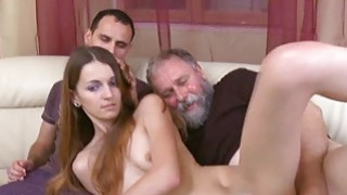 Crazy old lad fucks mouth pussy of a young beauty