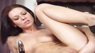 Brunette Michelle masturbation on the table