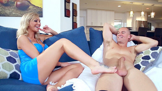 Destiny Dixon slipped his large cock between her pretty feet