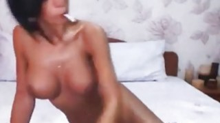 Busty Beauty Brunette Plays With Her pussy