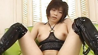 Asian bitch has a wank where she cums strong