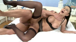 French lingerie babe gets some anal doggystyle