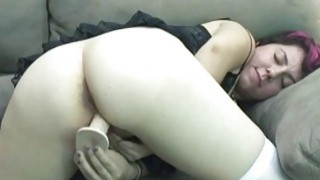 Raven fucks her young pussy with a big toy