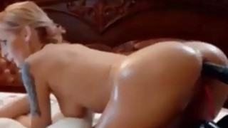 tattoed blonde with perfect body toying