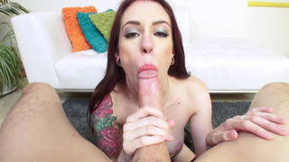 Anna De Ville engulfs his mammoth schlong, eats balls and does a rimjob