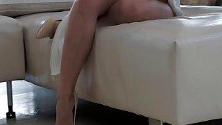Babe Violette Purel receives a huge load of cum on her feet