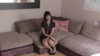 Ebony cutie fucks fake agents cock pov