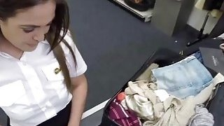 Spanish and sexy stewardess fucks Shawn in doggystyle at the bathroom