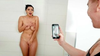 Kira Queen takes the shower and plays with her pussy