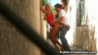 Busty latina Bridgette B gives fanastic blowjob in public