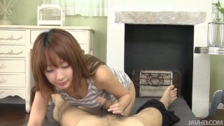 Sweet teen chick gives a footjob and swallows a dick