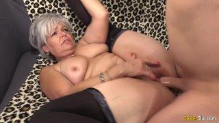Libidinous Grandma Kelly Leigh Takes His Long Cock Hard and Deep