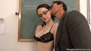 Dirty student Tessa Lane sucks a cock to pass exam